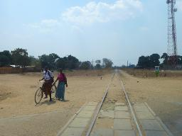 Crossing the railway in Malawi Displays a larger version of this image in a new browser window